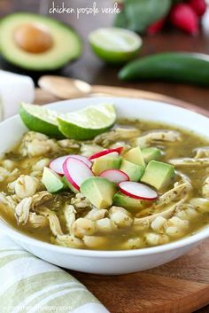 This Chicken Posole Verde Recipe has shredded chicken and tender hominy in a crazy flavorful verde broth. Such wonderful flavor in the verde sauce, and you won't believe how easy it is to make! Easy Chicken Recipes, Pork Recipes, Mexican Food Recipes, Cooking Recipes, Healthy Recipes, Mexican Dishes, Hominy Recipes, Mexican Desserts, Mexican Meals