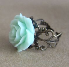 Mint Green Rose Ring Pastel Green Seafoam Green Light Green Pale Green Floral Ring - L'amour - Antique Brass Filigree