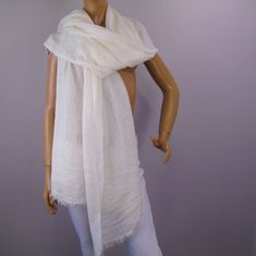 8893d9b474 Vintage Anne Klein Lion Logo Scarf Wrap Large Oblong White  AnneKlein  Wrap   Business