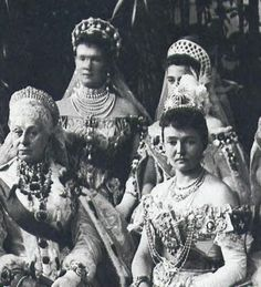 Royal ladies at the Coronation of Nicholas II in 1896  First row - Grand Duchess Alexandra Iosifovna and The Duchess of Connaught  Second row - Grand Duchess Maria Pavlovna and Grand Duchess Elena Vladimirovna