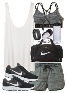"""""""Outfit for the gym with shorts and a sports bra"""" by ferned ❤ liked on Polyvore featuring MANGO, Hollister Co., The Row, NIKE, Fitbit and Forever 21"""
