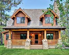 Plan 2 Bed Rustic Retreat (Or Three). - This 2 bedroom rustic retreat has great spaces inside and out with two covered porches increasing y - Small Log Home Plans, Small Log Homes, Log Cabin Floor Plans, Log Cabin Kits, Log Cabin Homes, Log Cabins, Prefab Cabins, Cabin Ideas, Small Cabins