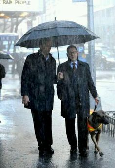 Jim Caviezel & Michael Emerson and canine companion