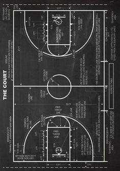 Basketball Court Schematic Diagram Very High Quality and Cool Poster Basketballplatz Schema Sehr hochwertiges und cooles Poster Basketball Trainer, Home Basketball Court, Basketball Gifts, Basketball Drills, Basketball Pictures, Sports Basketball, Basketball Players, Basketball Couples, Basketball Tattoos