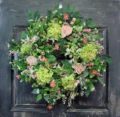 Hydrangea Wreath  Front Door Wreath  Floral by Designawreath, $94.95