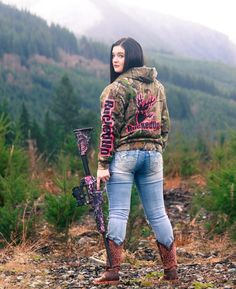 Posted by country__sweetheart on IG Look back at it.  Photographer: @gabrielleannlarsen  #countrygirl #camo #country #countrysweetheart #lookbackatit #photoshoot #buckedup #tonylama #45 #rifle #muddygirlcamo #pnw