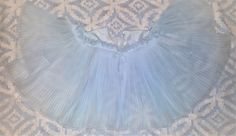 Vintage 50s Lingerie Vanity Fair BED JACKET BLUE Accordion Pleat Chiffon Dolly
