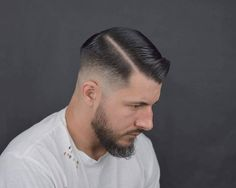 18+ warning go away SHAVED HEAD - BUZZCUT - MILITARY CUTTING - WET HAIR - BRYLCREEM - SLICKED HAIR -... Pomade Hairstyle Men, Mens Hairstyles With Beard, Hair Pomade, Cool Hairstyles For Men, Slick Hairstyles, Undercut Hairstyles, Hair And Beard Styles, Haircuts For Men, Long Hair Styles