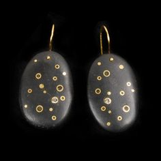 """Andrea Williams Earrings, """"Starry Night"""" 18k Gold, Lab Grown White Sapphire, Beach Stones 05"""" long"""