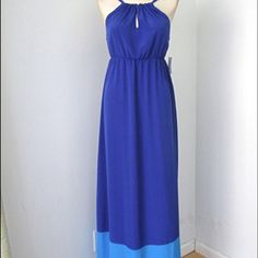 Color block silky maxi dress Old Navy silky blue two tone medium halter maxi dress. Great for formal or casual, pictured on a wine tour but also good for festivals, graduation, etc. Cut and style is flattering and cool for hot days. Old Navy Dresses Maxi