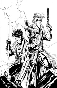 Gambit & Grifter by Jim Lee