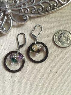 Hammered Pewter Gemstone Beaded Earrings #158