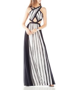BCBGMAXAZRIA Striped Cutout Gown | Bloomingdale's