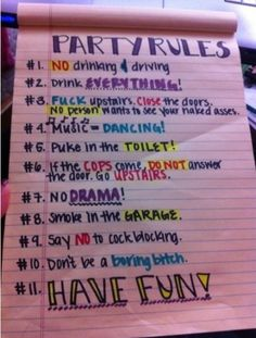 Funny pictures about Best party rules ever. Oh, and cool pics about Best party rules ever. Also, Best party rules ever photos. House Party Rules, Fun House, Soirée Halloween, Adult Party Games, Drinking Games For Parties, Adult Drinking Games, College Parties, College Party Games, Party Drinks