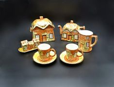 Condiment Sets, Thatched Roof, Cottage Design, Milk Jug, Old English, Cool Toys, Tea Set, Cup And Saucer, Biscuit