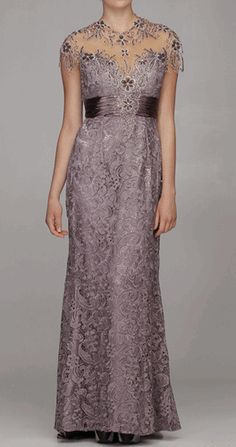 Mauve Illusion Neckline Empire Waist Full Length Gown - Discountdressup Store