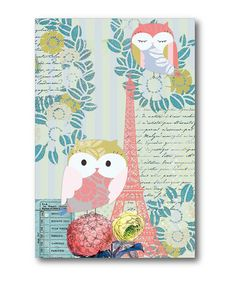 Take a look at this Turquoise & Coral Eiffel Tower Owl Canvas Art on zulily today!