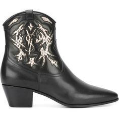 Saint Laurent Rock 40 cowboy ankle boots (18.345 ARS) ❤ liked on Polyvore featuring shoes, boots, ankle booties, black, western booties, ankle cowboy boots, western boots, cowboy boots and black pointed toe booties
