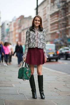 Ella Catliff in a Tory Burch shirt and jacket