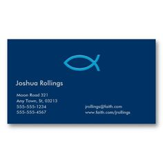 christian business card elegant business cards fish blue pastor christian - Pastor Business Cards