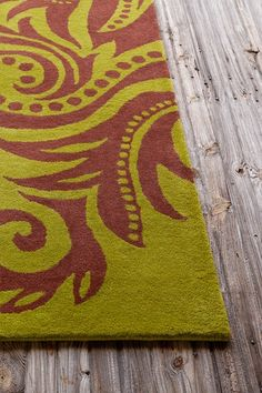 Allie Wool Rug - Green/Burgundy - 5ft. x 7ft. 6in. by Allie Rugs by Filament on @HauteLook
