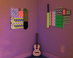 Neometry Geometric Paintings by Carl Cashman. A debut exhibition of colorful neon and geometric Op-Art paintings with woven bold patterns by Carl Cashman that come alive in the dark. Geometric Painting, Op Art, Ultra Violet, Artsy Fartsy, Print Patterns, Contemporary Art, Sculptures, Art Gallery, Objects