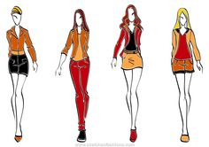 Casual fashion models in sketch style for teenager clorh design.