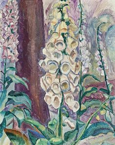 Grace Cossington Smith (Australian, Foxgloves Growing, Oil on pulp board, x cm. Art Eras, Classical Realism, Moise, Post Impressionism, Art Database, Australian Artists, Art Auction, Landscape Art, Female Art