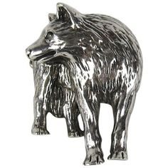 Preowned Carol Felley Sterling Silver Wolf Brooch 1990 New Old Stock ($575) ❤ liked on Polyvore featuring jewelry, brooches, silver, wolf jewelry, 80's fashion jewelry, 1980s jewelry, 80s jewelry and pre owned jewelry