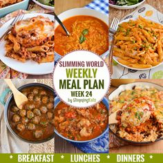 Slimming Slimming Eats Weekly Meal Plan - Week 24 - Slimming World - taking the work out of planning so that you can just cook and enjoy the food. Extra Easy Slimming World, Slimming World Recipes Syn Free, Slimming World Meal Planner, Slimming World Diet Plan, Sliming World, Sw Meals, Slimming Eats, Breakfast Lunch Dinner, Free Breakfast