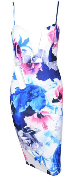 Sexy deep V-neck floral dress. Run true to size.