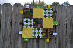 John Deere Baby Tag Blanket. $12.00, via Etsy.