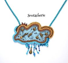 Soutache Marine Necklace  Blue and golden by Soutacherie on Etsy, $40.00