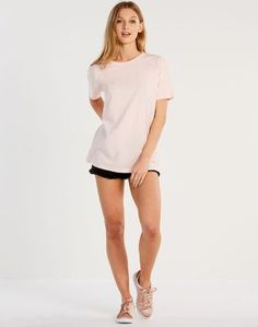 Cut Out Back Tee Soft Pink