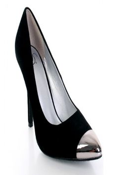 Black Faux Suede High Polish Metal Pointed Closed Toe Heels