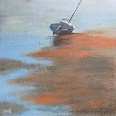 """""""Seascape boat in harbour 2"""" by Terry Wood"""