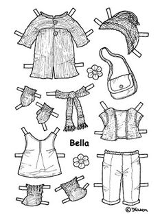 Karen`s Paper Dolls: Bella 1-5 Paper Doll to Print and Colour. Bella 1-5…