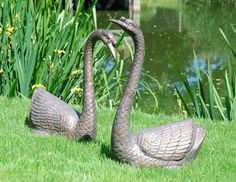 Large Garden Ornaments - Pair of Swans Antique Bronze Statues. Buy now at http://www.statuesandsculptures.co.uk/large-garden-ornaments-pair-of-swans-antique-bronze-statues