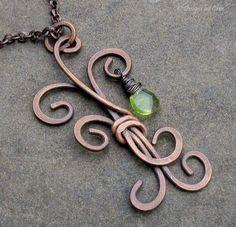 Metalwork Freeform Tree Pendant Antique Copper by DesignsbyCher