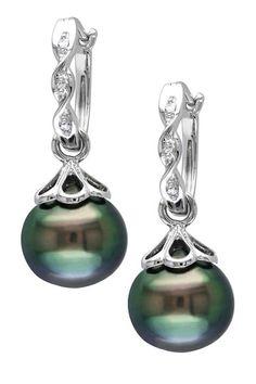14K White Gold 9-9.5mm Black Tahitian Pearl & Diamond Drop Earrings
