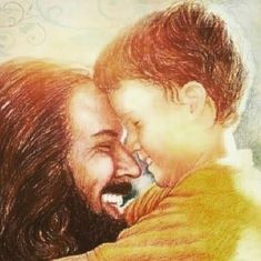 My heart. The fact, this looks like Jesus and the little boy in yellow. looks like my cousin. (He's no longer with us, he is with Jesus now. Jesus Christ Quotes, Pictures Of Jesus Christ, Jesus Art, God Jesus, Lds Art, Bible Art, Jesus Jose Y Maria, Jesus Smiling, Jesus Painting