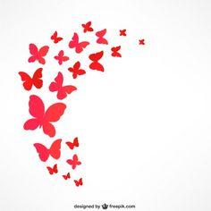 Mariposas rojas que vuelan Vector Gratis