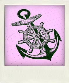 Anchor and Ship Wheel Tattoo Body Art Tattoos, Tattoo Drawings, New Tattoos, Bird Tattoos, Feather Tattoos, Skull Tattoos, Tattoo Ink, Anchor Drawings, Tatto Old