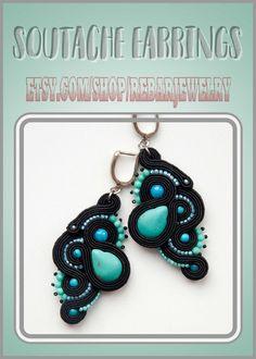 Turquoise and black soutache earrings, long blue stone earrings, delicate seed bead earrings, birthday gift Gold Tassel Earrings, Soutache Earrings, White Earrings, Seed Bead Earrings, Stone Earrings, Etsy Earrings, Clip On Earrings, Crochet Earrings, Handmade Necklaces