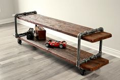 Vintage Industrial Cast Iron Pipe Table TV by AntonMakaDesigns