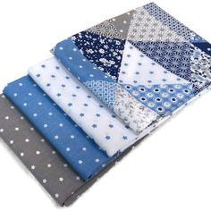 Lot 4 coupons 50x50cm gaspard bleu , mini stars blanc/bleu , mini stars bleu , mini stars gris