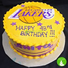 Fire up Los Angeles fans! Here's a Lakers theme Birthday cake. Very fantastic! :D #lakers #birthdaycake #customized #cagayandeoro