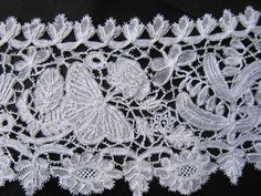English Honiton Bobbin Lace Collar Butterfly Flower and Thistle Motifs 19thC   eBay