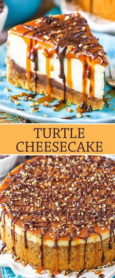This Turtle Cheesecake Recipe is made with a graham cracker crust and plenty of caramel, chocolate and pecans! It's rich, creamy and sure to be a hit! #cheesecake #cheesecakerecipe