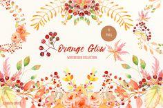 Watercolor Collection Orange Glow by Corner Croft on @creativemarket